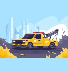 evacuator on duty keeps order in city vector image