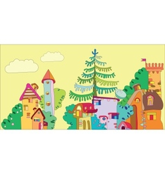 Fairytale town vector