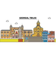 georgia tbilisi city skyline architecture vector image