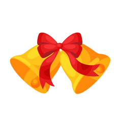 Golden bells with red bow christmas and new year vector