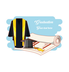 graduation card with suit uniform vector image