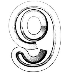 Grunge font number 9 vector image vector image