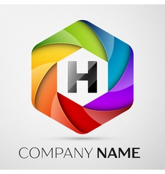 H Letter colorful logo in the hexagonal on grey vector
