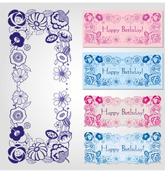 happy birthday label design with floral frame vector image