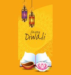 happy diwali indian celebration design vector image
