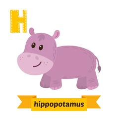 Hippopotamus H letter Cute children animal vector