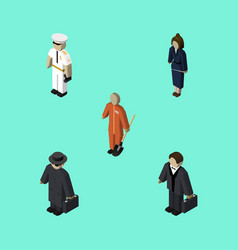 Isometric human set of businesswoman detective vector