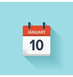 January 10 flat daily calendar icon Date vector image