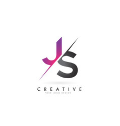Js j s letter logo with color block design and vector