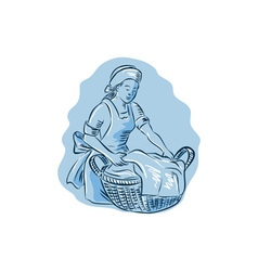 Laundry maid basket vintage etching vector