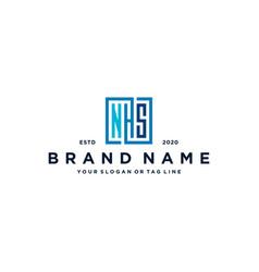 Letter nhs square logo design vector