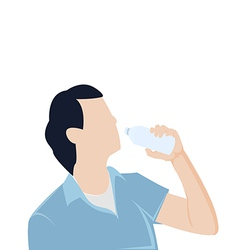 man bottle drinking water Graphic vector image