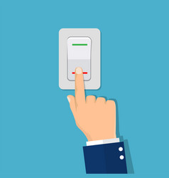 Man hand push button switch vector