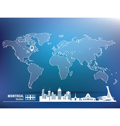 Map pin with Montreal skyline vector image