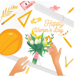 march 8 bouquet with tulips and women s hands vector image