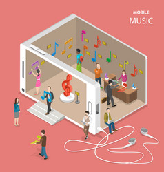 Mobile cloud music service flat isometric vector