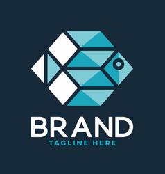 Modern digital fish logo vector