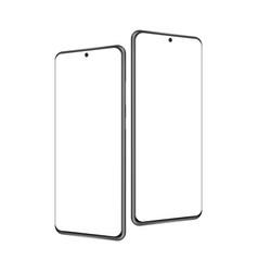 Modern frameless mobile phones mockups vector