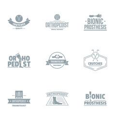 Orthopedic prosthetics logo set simple style vector
