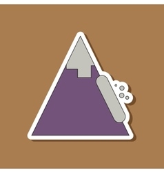 Paper sticker on stylish background snow avalanche vector