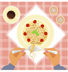 person is eating delicious pasta vector image vector image