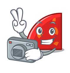 photographer quadrant mascot cartoon style vector image