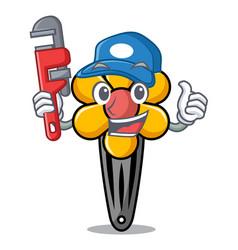 Plumber hair clip mascot cartoon vector