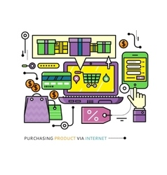 Purchasing delivery product via internet vector