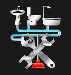 Repair of plumbing and sanitary equipment vector