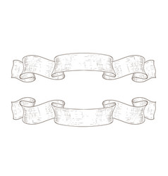 ribbon banners outline hand drawn sketch vector image