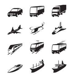 Road sea and space transportation icons set vector image