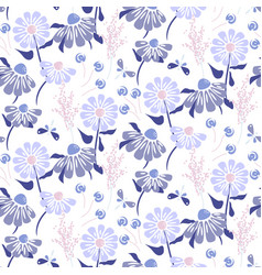 Rustic flowers vintage blue purple colors seamless vector