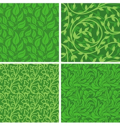 seamless backgrounds with leaves vector image