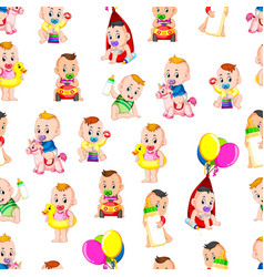 seamless pattern with babys happy playing vector image