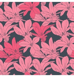 Seamless pattern with pink magnolia vector image