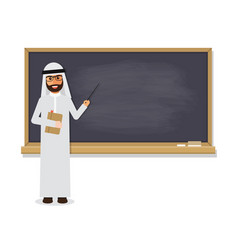 Senior arab teacher teaching student in classroom vector
