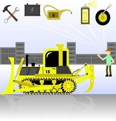 Service and diagnostics bulldozer Detalied vector