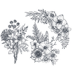 set floral compositions bouquets with flowers vector image