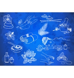 Set of Hand Drawn Spa Icons vector image