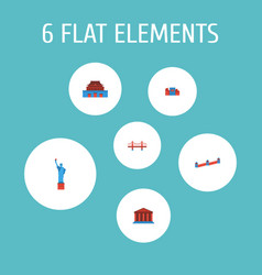 set of landmarks icons flat style symbols with vector image