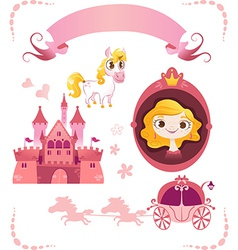 set pink princess tale vector image