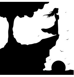 silhouette girl standing on edge cliff vector image