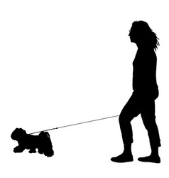 silhouette of woman and dog on a white background vector image vector image