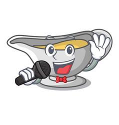 Singing cartoon sauce boat with turkey gravy vector
