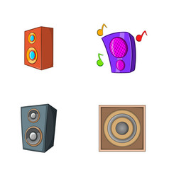 speaker icon set cartoon style vector image