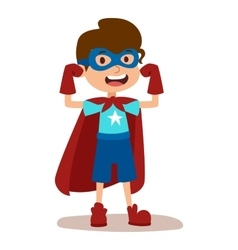 Superhero kid boy cartoon vector