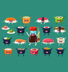 sushi and rolls characters sett japaneset food vector image