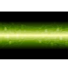 Tech green background with circuit board lines vector image