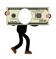 Template businessman carries big dollar huge vector
