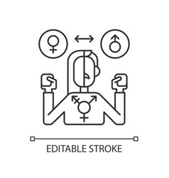 Transgender pixel perfect linear icon vector